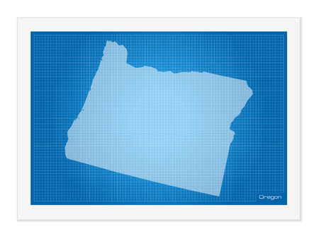 frontier: Oregon on blueprint on a white background.
