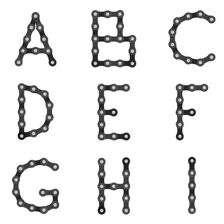 part of me: cadena de la bici alfabeto de la A a I en un fondo blanco.