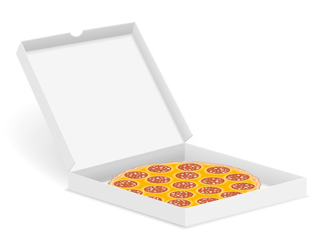 pasteboard: Delicious pizza in box isolated on white background.