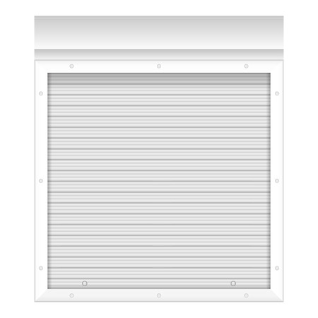 roller shutters: Window with rolling shutters on a white background.
