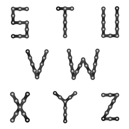 v cycle: Bike chain alphabet S to Z on a white background. Illustration