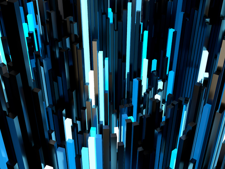 rectangular: Shiny blue rectangular pipe 3d abstract background.
