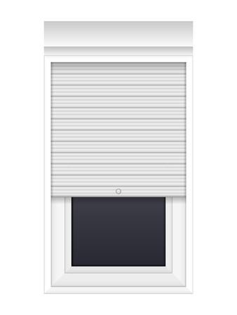 shutters: Window with rolling shutters on a white background.