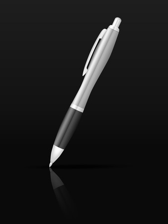 writing equipment: Ballpoint pen on a black background.