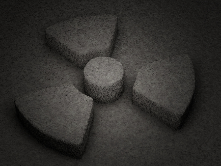radiation symbol: Stone radiation symbol textured background. 3D illustration.