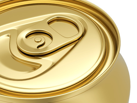 drink can: Gold drink can on a white background.