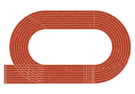 Atletiekbaan op het stadion met rijstrook en cijfers.