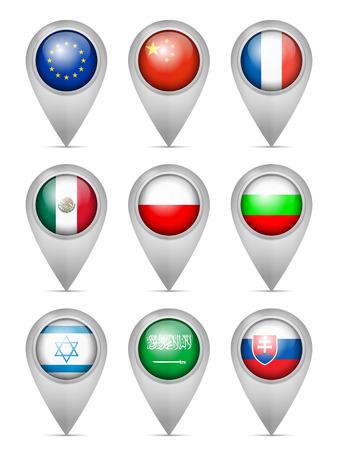 Map marker national flag set on a white background. Illustration