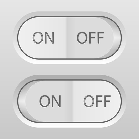switches: Onoff buttons on a grey background. Illustration