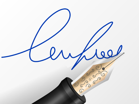 Fountain pen and signature on a sheet.