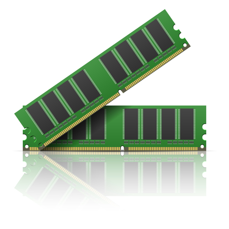 memory board: Computer memory on a white background. Illustration