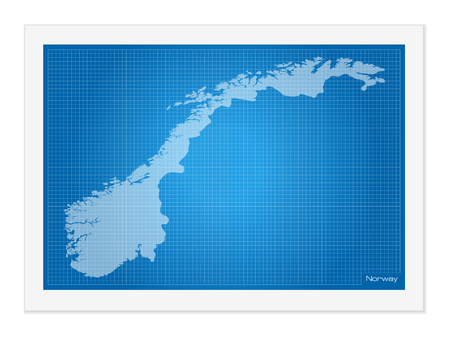norway: Norway on blueprint on a white background.