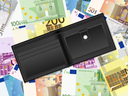 billfold: Wallet on euro banknotes background.  illustration.