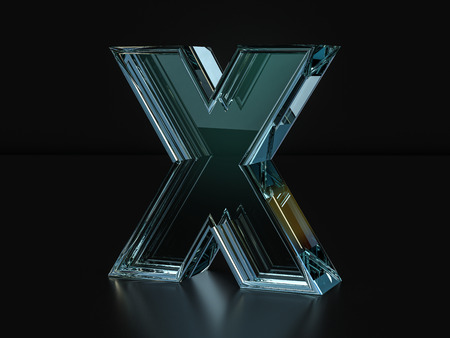 Glass letter X on a black background. 3D illustration.