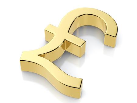 libra esterlina: Símbolo de la libra de oro sobre un fondo blanco.
