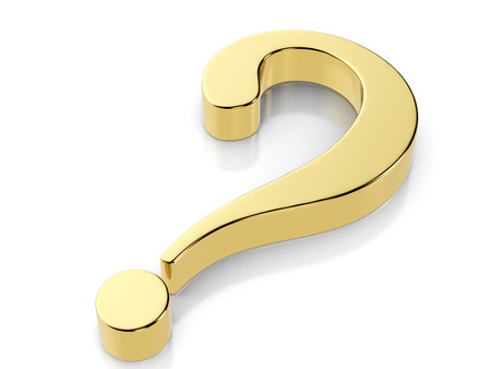 Golden question symbol on a white background. Stock Photo