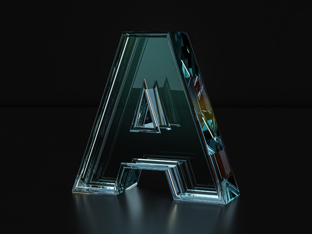 single word: Glass letter A on a black background. 3D illustration.
