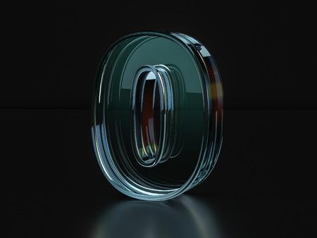 number zero: Glass number zero on a black background. 3D illustration.