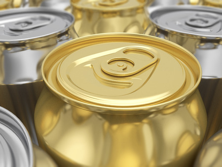 gold cans: Aluminum and gold drink cans background. 3D rendering background. Stock Photo