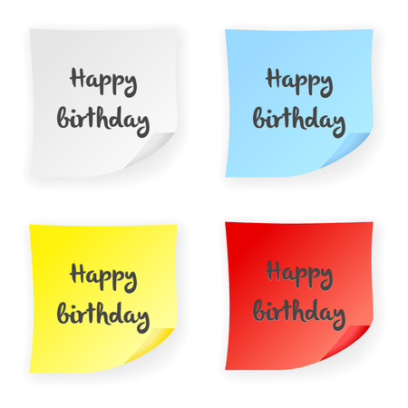 memo pad: Stick note happy birthday on a white background. Vector illustration.