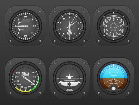 pilot cockpit: Flight instrument on a black dashboard.