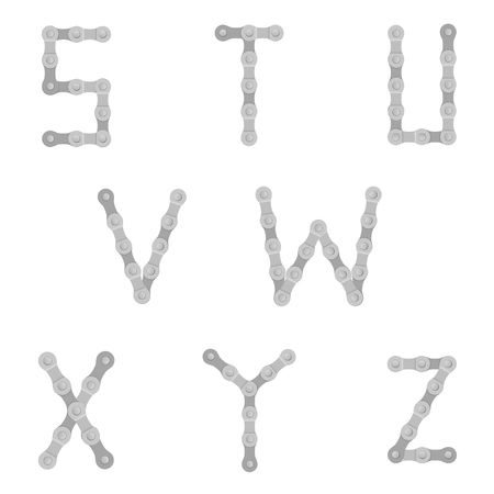 x sport: Cycling chain alphabet S to Z on a white background. Illustration