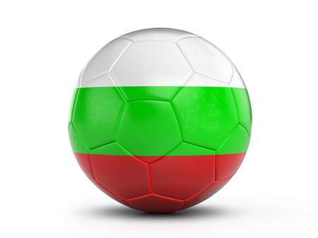 Soccer ball Bulgaria flag on a white background. 3D illustration.