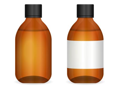 vials: Glass medical bottle set on  white