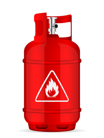 Propane gas cylinder on  white