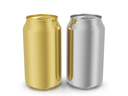 gold cans: Aluminum and gold drink cans on a white background. 3D illustration.