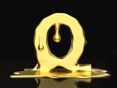 liquid gold: Liquid gold letter Q on a black background. 3D illustration.