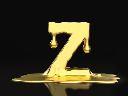 liquid gold: Liquid gold letter Z on a black background. 3D illustration.