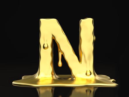 liquid gold: Liquid gold letter N on a black background. 3D illustration. Stock Photo