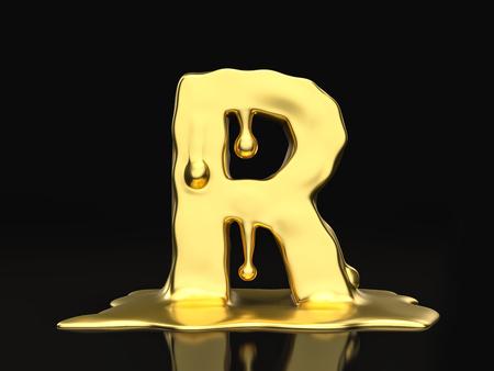 liquid gold: Liquid gold letter R on a black background. 3D illustration. Stock Photo