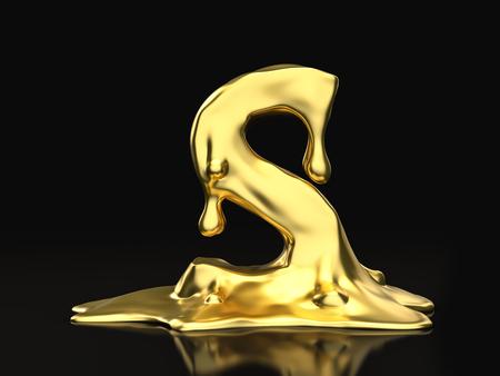 liquid gold: Liquid gold letter S on a black background. 3D illustration.