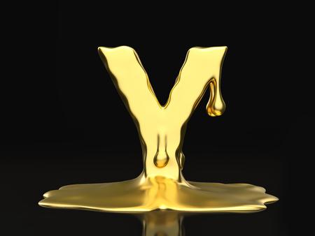 liquid gold: Liquid gold letter Y on a black background. 3D illustration.