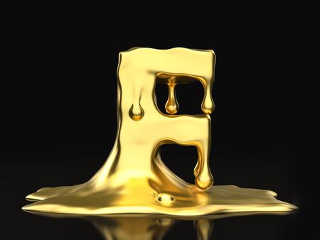 liquid gold: Liquid gold letter F on a black background. 3D illustration.
