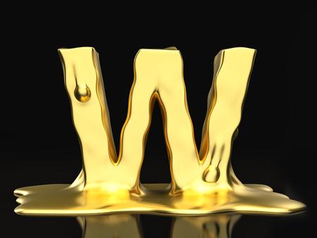 liquid gold: Liquid gold letter W on a black background. 3D illustration.