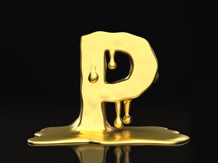 liquid gold: Liquid gold letter P on a black background. 3D illustration.