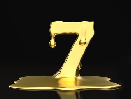 liquid gold: Liquid gold number 7 on a black background. 3D illustration.