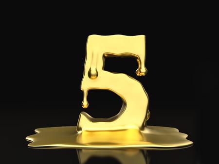 liquid gold: Liquid gold number 5 on a black background. 3D illustration.