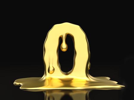 liquid gold: Liquid gold number 0 on a black background. 3D illustration. Stock Photo