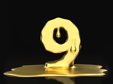 liquid gold: Liquid gold number 9 on a black background. 3D illustration. Stock Photo
