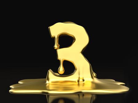 liquid gold: Liquid gold number 3 on a black background. 3D illustration.
