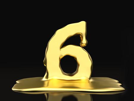 liquid gold: Liquid gold number 6 on a black background. 3D illustration. Stock Photo