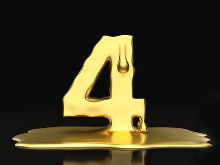 liquid gold: Liquid gold number 4 on a black background. 3D illustration.