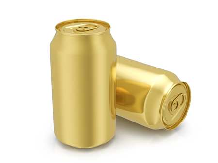 gold cans: Gold drink cans on a white background. 3D illustration.