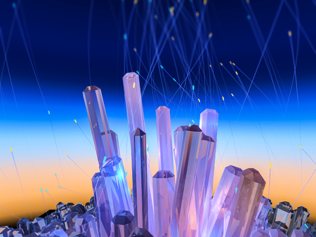 Crystals on abstract color sky. 3D illustration. Stock Photo