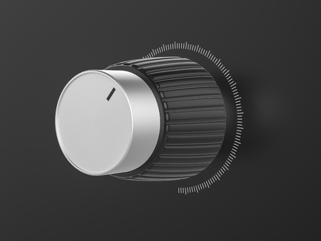 volume knob: Metal sound volume control knob. 3d Illustration.