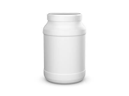 Recipiente de proteína de suero de leche sobre un fondo blanco. Ilustración 3d Foto de archivo - 71727875